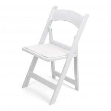Tremendous Folding Garden Chair White Resin W White Cushion A Finer Squirreltailoven Fun Painted Chair Ideas Images Squirreltailovenorg